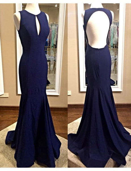 long prom dress, Fashion prom dress, Scoop prom dress, Dark Blue prom dress, Mermaid Evening Gown, BD86