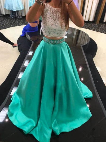 blue prom dress, long prom dress, A-line prom dress, two pieces prom dress, evening gown 2017, BD273
