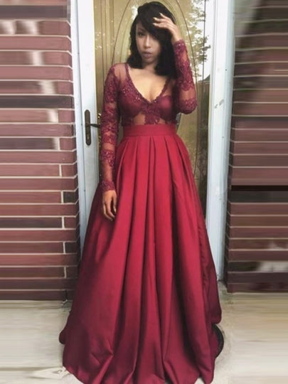 v-neck long sleeves lace burgundy long prom dress, PD1417