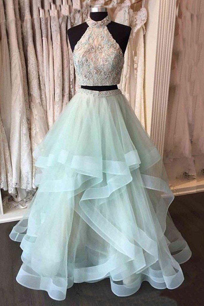 A-line two pieces high neck light mint long prom dress, PD5216