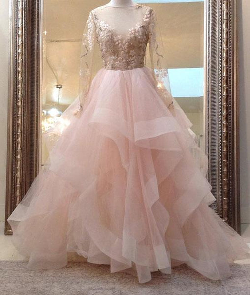 beauty blush pink long sleeves ball gown backless long tulle fluffy prom dress, PD5845