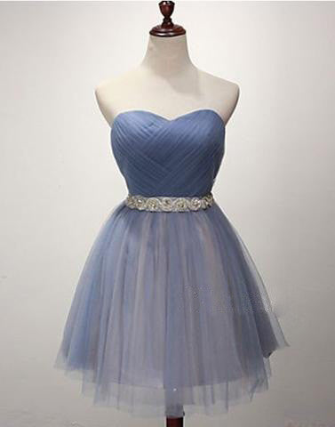 blue homecoming dress, short homecoming dress, simple prom dress, cheap homecoming dress, tulle homecoming dress, BD3993