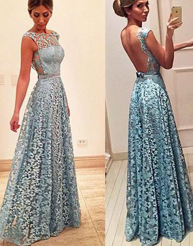 blue lace long backless prom dress, 2017 evening dress, PD1314