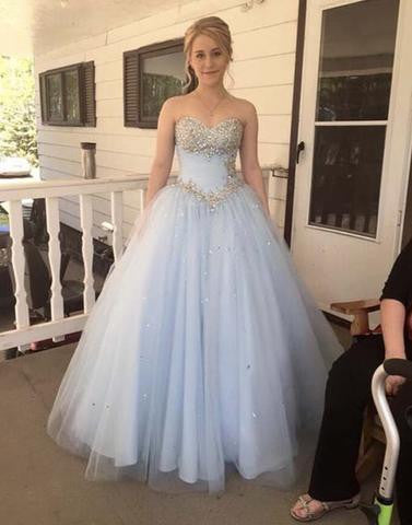 light blue sweetheart tulle A-line prom dress, beaded prom gown 2017, PD1315