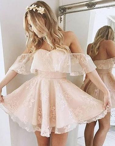 lace homecoming dress, short homecoming dress, cheap prom dress, off shoulder homecoming dress, junior homecoming dress, BD65874