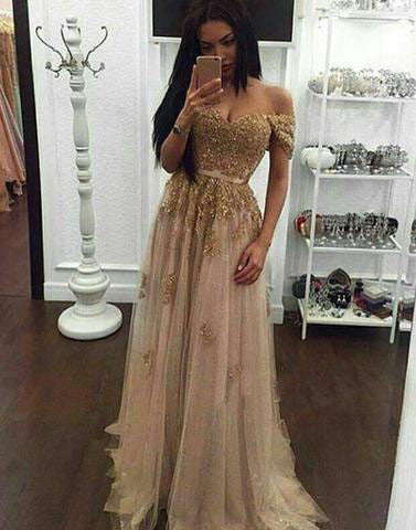 long off shoulder charming gold tulle prom dress, PD1313