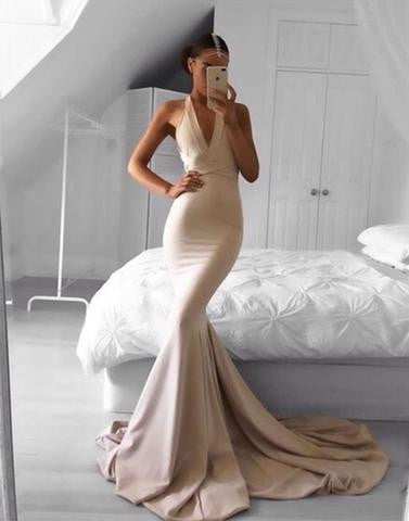 mermaid long v-neck charming cheap 2017 prom dress, nude gold evening dress, PD52698