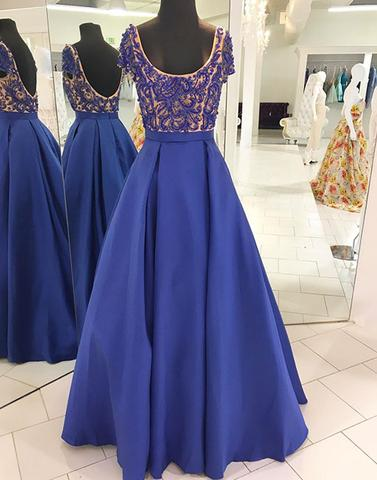 beaded A-line royal blue satin short sleeves long prom dress, PD4545