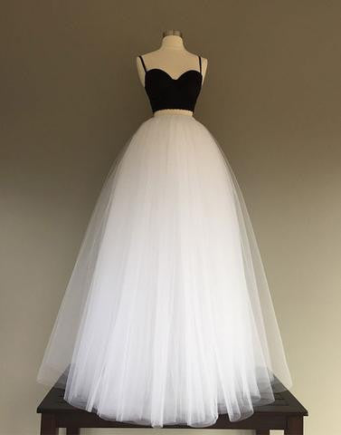 spaghetti straps white and black tulle strapless A-line long prom dress, PD7656