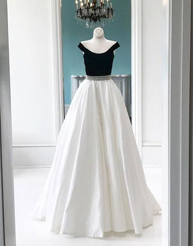 Off shoulder A-line white and black long prom dress, PD5254