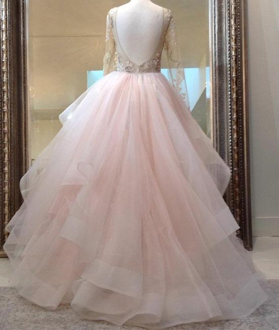 beauty light pink long sleeves backless long tulle fluffy prom dress ...