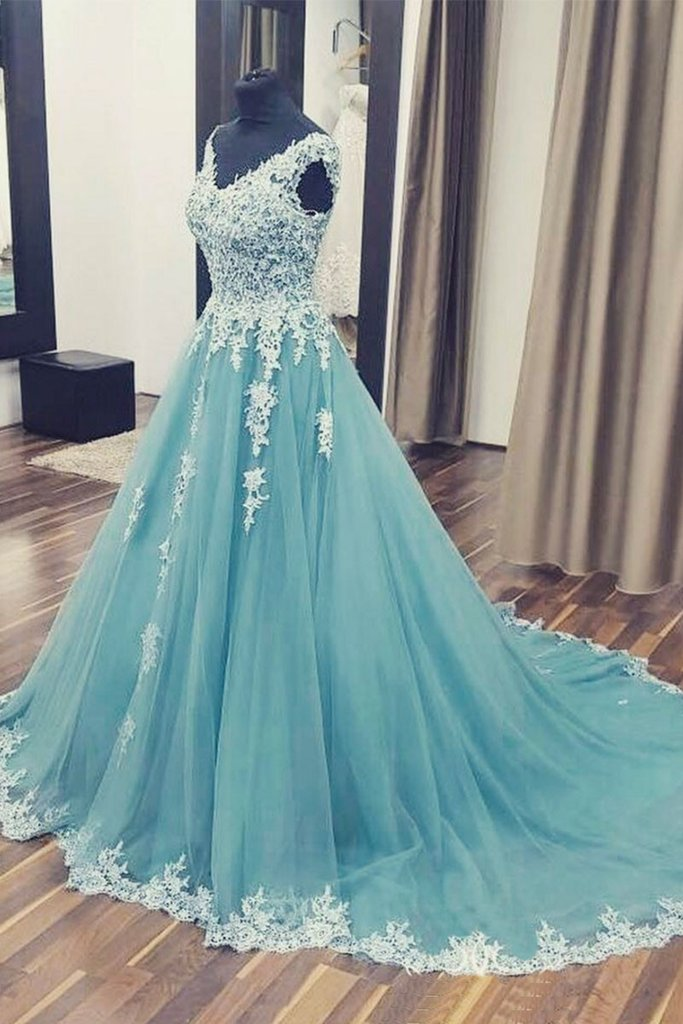A-line v-neck blue lace long prom dress, PD5220