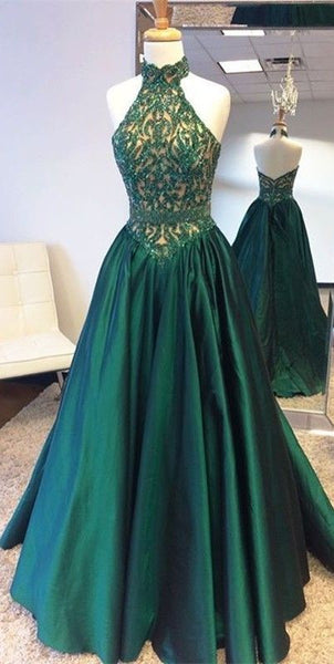 A-line halter dark green beaded formal 2017 long prom dress, PD6987