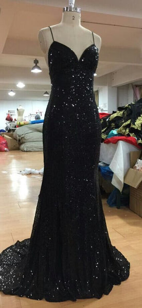 formal black sequin sparkle long evening dress, BD4528