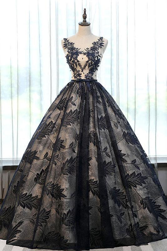 2018 formal A-line black lace long prom dress, PD7861