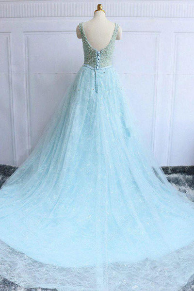 charming sky blue beaded lace long prom dress, PD1855