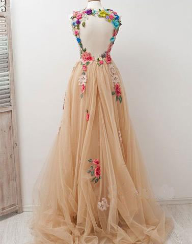 tulle open back long prom dress with flowers, charming evening gown, PD45686