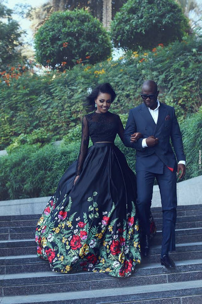 black two pieces long sleeves open back embroidery long prom dress, PD12145