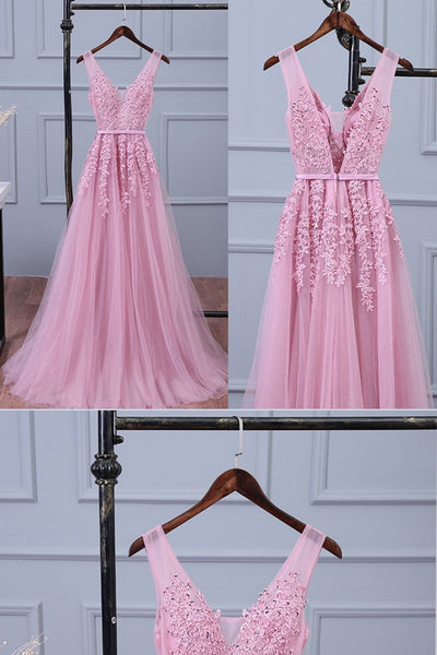 v-neck lace appliques pink tulle long prom dress, PD2125
