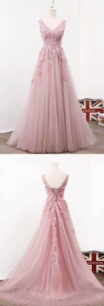 blush pink v-neck lace up back long prom dress, PD7862