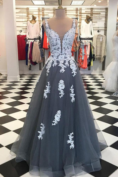 gray spaghetti straps with lace appliques long prom dress, PD1858