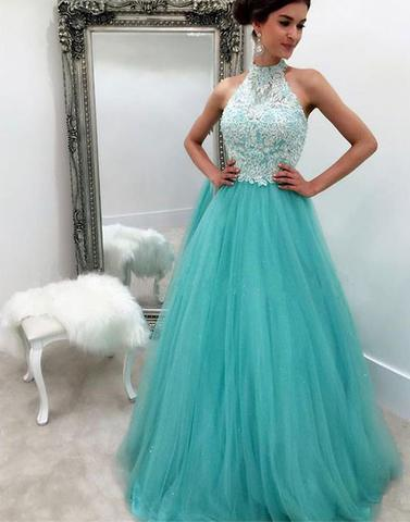 A-line blue tulle halter long formal lace prom dress, PD3329
