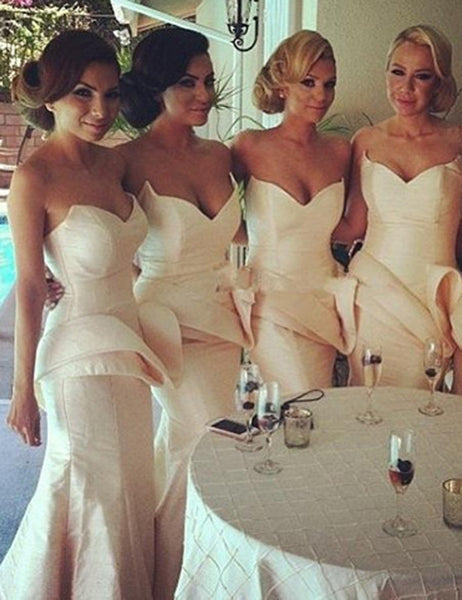 Ivory Bridesmaid Dress, Sweetheart Bridesmaid Dress,Off-shoulder Bridesmaid Dress,Ruffles Bridesmaid Dress, Taffeta Bridesmaid Dress, PD16