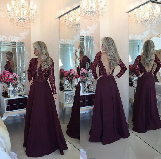 dark burgundy long sleeves modest long prom dress, PD40004