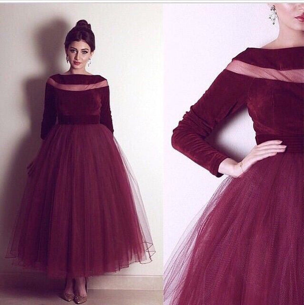 burgundy long sleeves tea-length tulle charming homecoming dress 2017, BD39869
