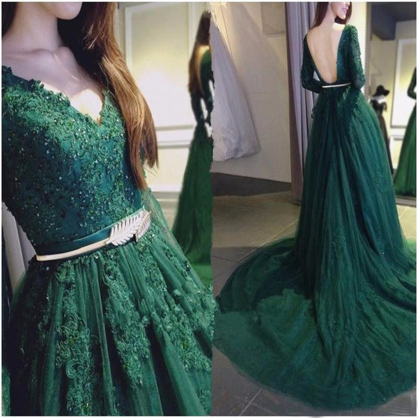 elegant v-neck long sleeves green lace long prom dress, PD0842