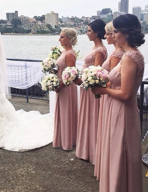 Elegant Bridesmaid Dress,Scoop Bridesmaid Dress,A-line Bridesmaid Dress,Appliques Bridesmaid Dress, Pink Long Bridesmaid Dress, PD19