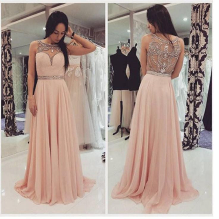 blush pink chiffon long beaded prom dress, charming evening dress, PD4116