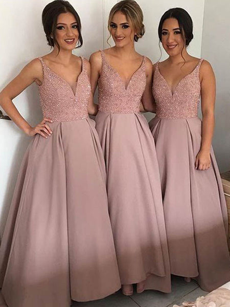 v-neck dusty pink beaded A-line long Bridesmaid dress ,PD198