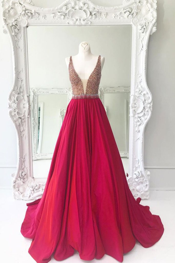 v-neck long red A-line beaded prom dress, PD4488