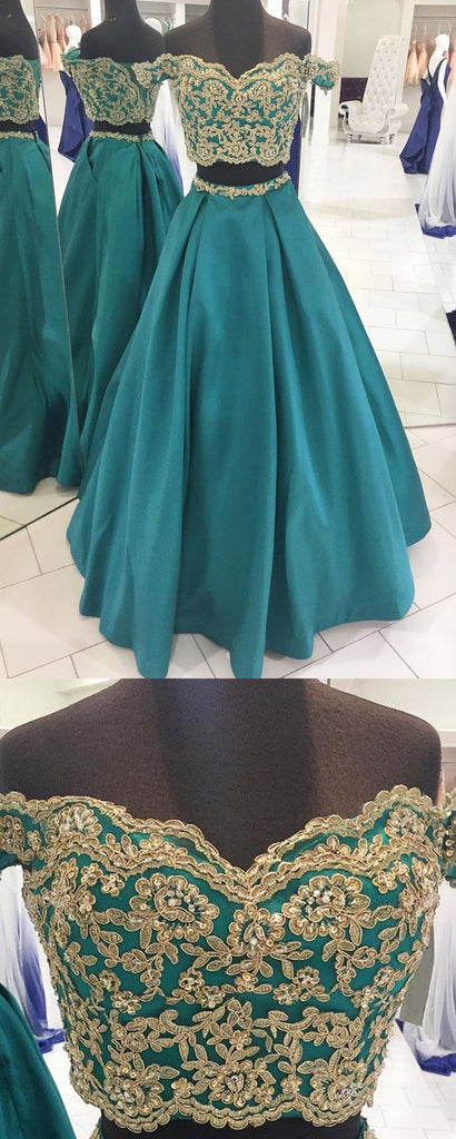 off shoulder A-line green long two pieces prom dress, PD2135