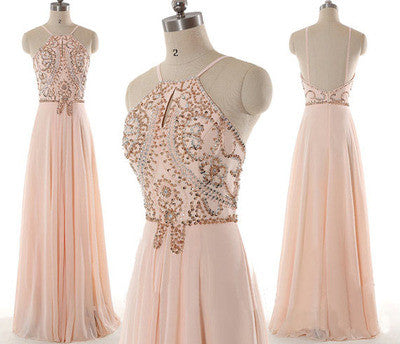 blush pink prom dress, long prom dress, beaded prom dress, chiffon prom dress, cheap evening dress, BD34