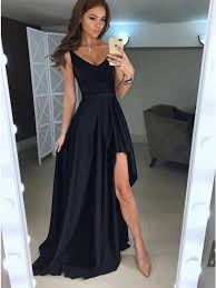 black prom dress, cheap prom dress, simple prom dress, hi-lo prom dress,formal dress, BD5622