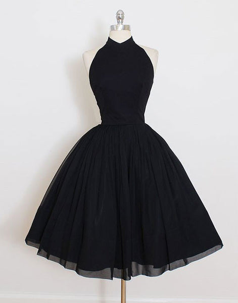 black homecoming dress, little black dress, short prom dress, halter homecoming dress, cheap homecoming dress, BD3900