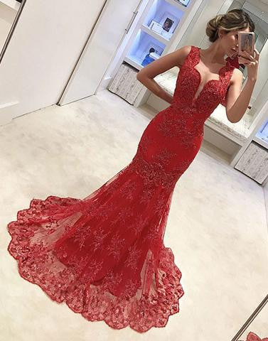 red lace mermaid long cheap charming 2017 formal prom dress, PD1469