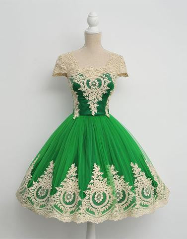 green homecoming dress, short homecoming dress, cheap prom dress, lace appliques homecoming dress, cheap homecoming dress, BD3904