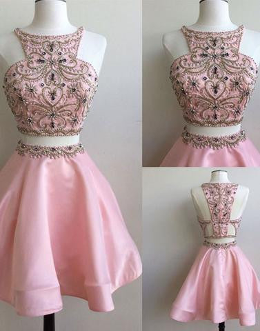 beaded homecoming dress, short homecoming dress, cheap prom dress, pink homecoming dress, two pieces homecoming dress, BD3906