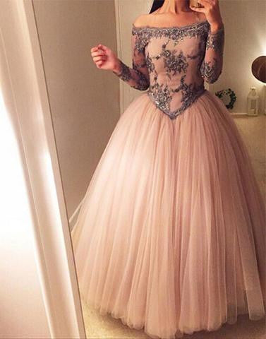 off shoulder floor-length tulle long sleeves tulle prom dress , PD1290