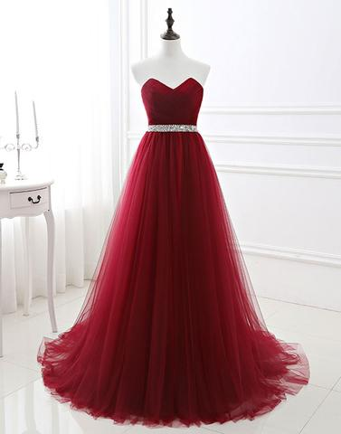 A-line sweetheart lace up back tulle burgundy long prom dress, PD5874