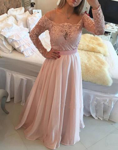 blush pink long sleeves long prom dress, 2017 evening gown, PD45675