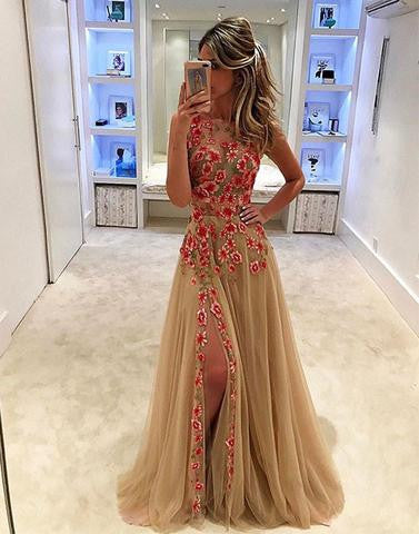 long side slit tulle prom dress with flower appliques, PD1291