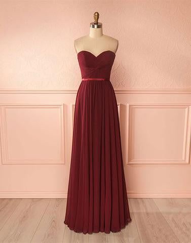 burgundy sweetheart chiffon simple cheap long Bridesmaid Dresses,PD9998