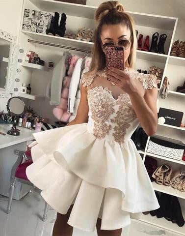 2017 A-line cap sleeves white short homecoming dress, HD193