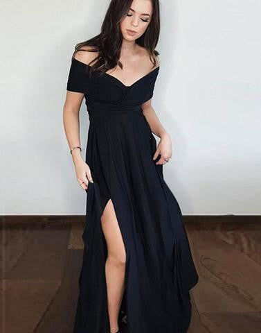 black prom dress, off shoulder prom dress, 2017 prom dress, long prom dress, side slit evening dress, BD12635