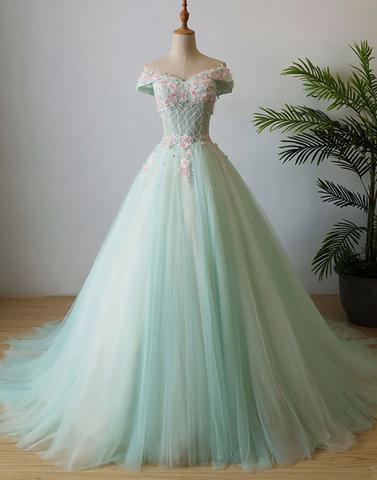 charming lace up back off shoulder A-line tulle long mint prom dress, PD87415