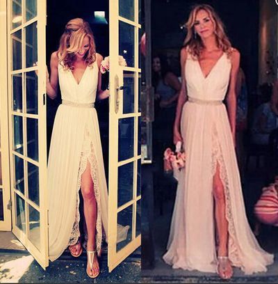 ivory prom dress, long prom dress, side slit prom dress, cheap wedding dress, new bridesmaid dress, BD10